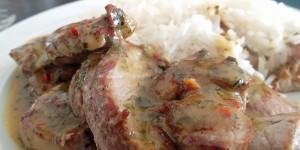 Schweinemedallions in Honig-Senf-Sauce, gfcf, paleo
