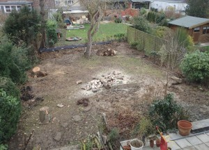 Unser zukünftiger Garten, noch ohne Zaun aber schon ohne gefährliche (giftige) Pflanzen, leider auch noch ohne Rasen