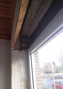 Der Rolladenkasten vor dem Umbau mit Dämmung und LED-Einbaustrahlern