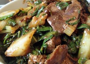 Hühnerleber mit Pak-Choi, gfcf