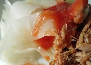 Sellerie-Nudeln mit Thunfisch-Tomatensauce, glutenfrei, paleo