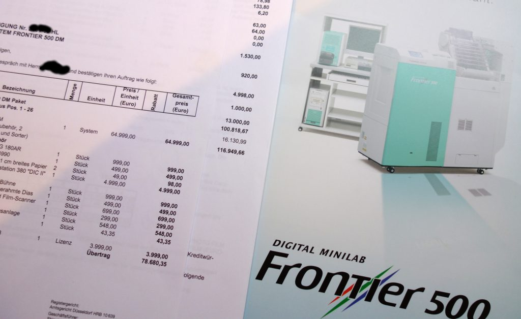 Rechnung für Fujifilm Frontier Minilab 500